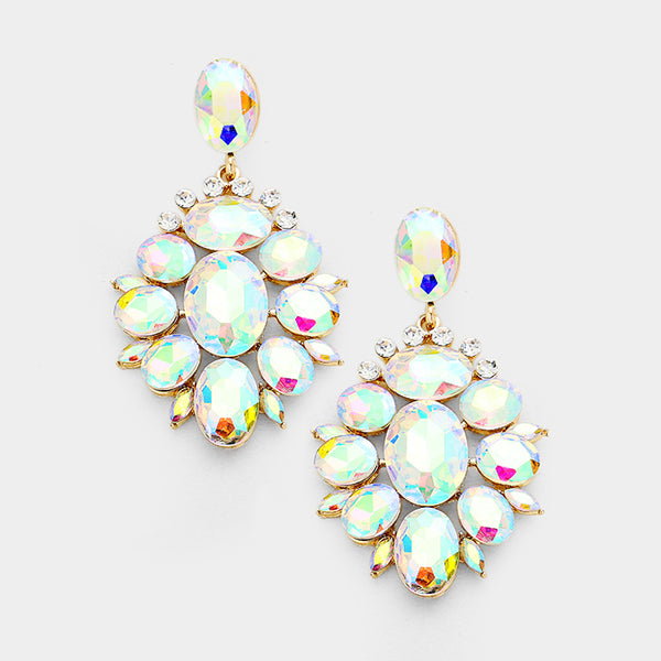 Marquise Oval Crystal Cluster Evening Earrings