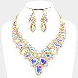 Marquise Crystal Glass Round Stone Cluster Necklace