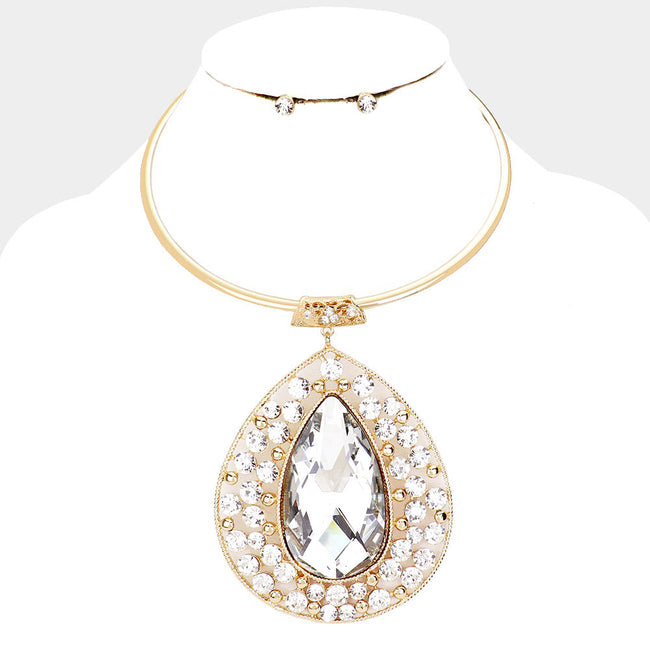 Crystal Teardrop Pave Evening Necklace