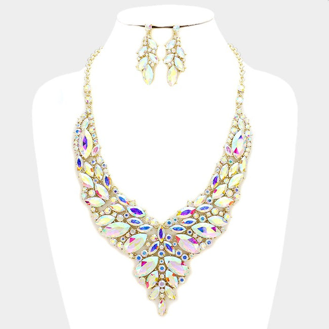 Crystal Rhinestone Marquise Evening Necklace