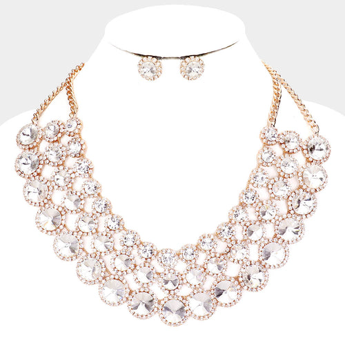 Crystal Pave Trim Round Evening Necklace