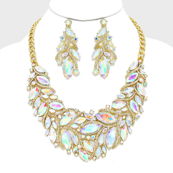 Marquise Crystal Rhinestone Cluster Evening Necklace