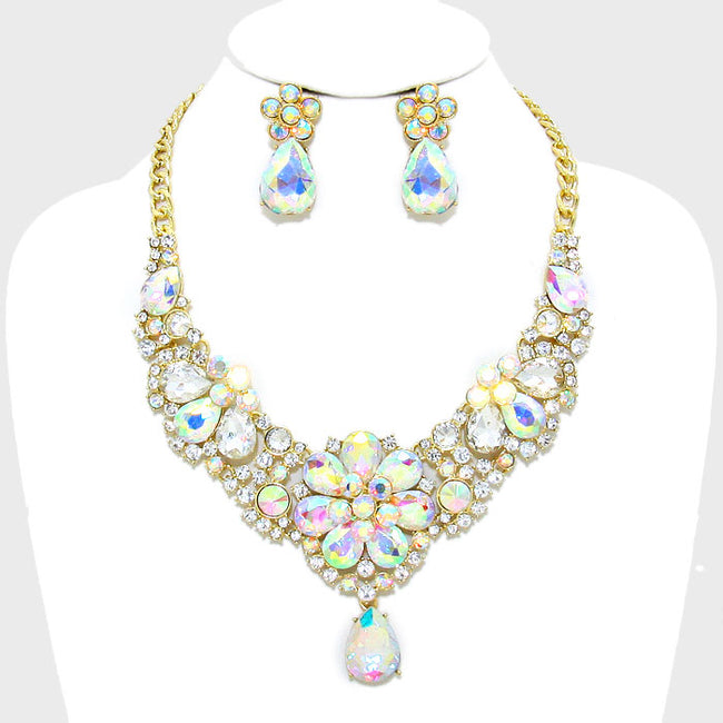 Floral Crystal Rhinestone Evening Necklace