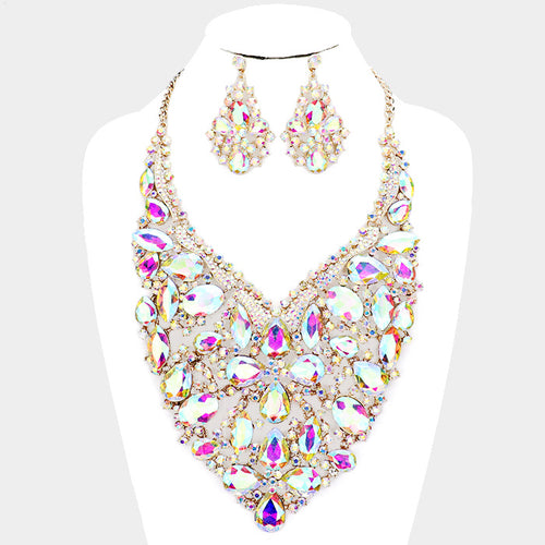 Oversized Glass Crystal Rhinestone Statement Necklace