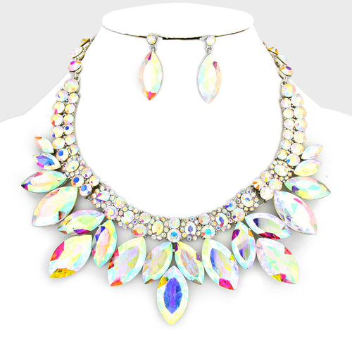 Marquise Rhinestone Petal Collar Necklace
