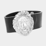 Lion Accented Leather Snap Button Bracelet