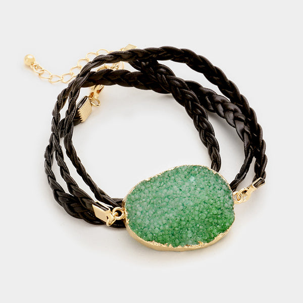 Raw Druzy Slice & Twisted Faux Leather Wrap Bracelet