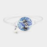 Patterned Mermaid Accented Pearl Charm Hook Bracelet