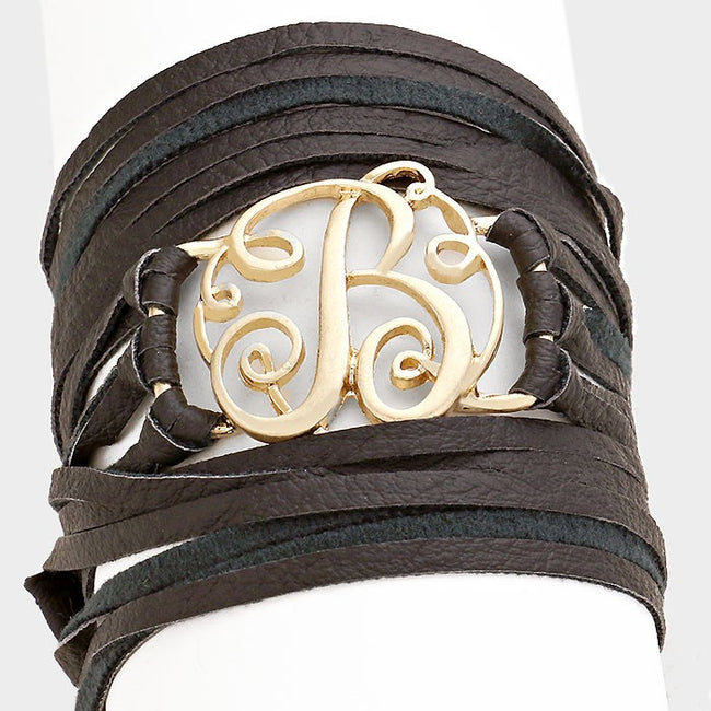 B Monogram Faux Leather Wrap Bracelet