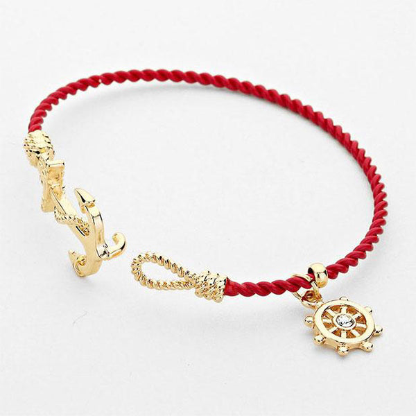 Nautical Anchor Helm Charm Hook Bracelet