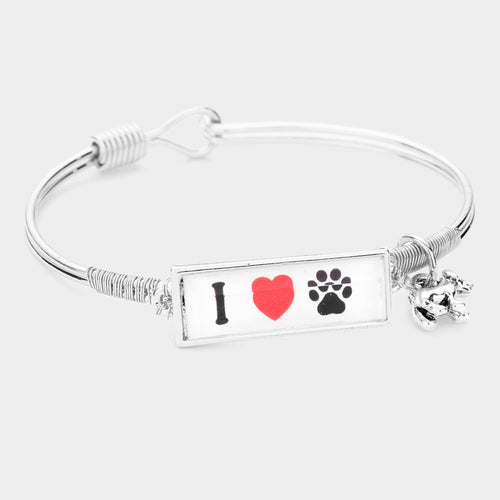 I Love Dog Charm Message Hook Bracelet