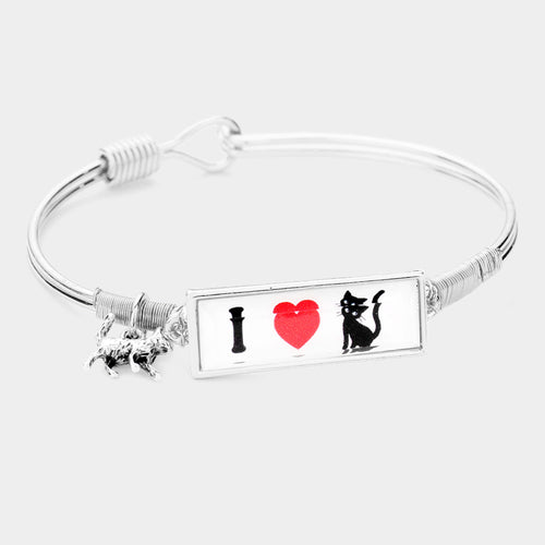 I Love Cat Charm Message Hook Bracelet
