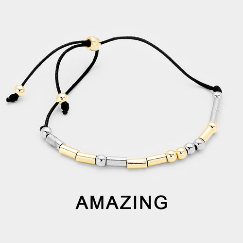 """Amazing"" Morse Code Cinch Bracelet"