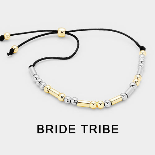 """Bride Tribe"" Morse Code Cinch Bracelet"