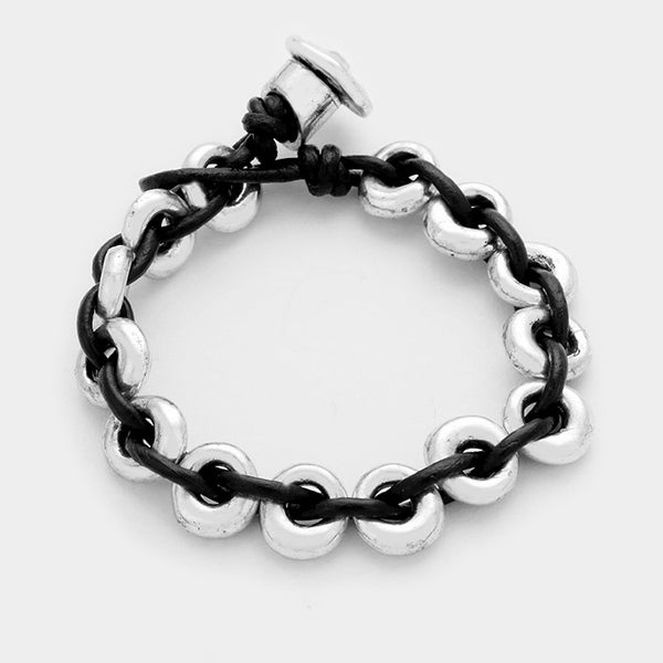 Metal Hoops & Leather Bracelet
