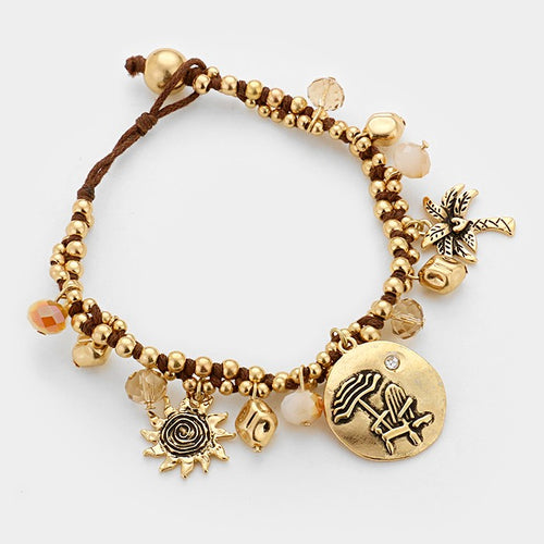 Palm Tree & Beach Umbrella Charm Bracelet
