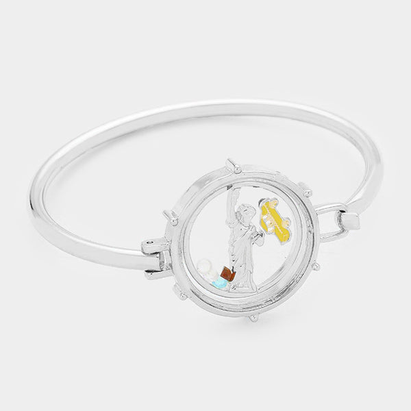 Statue Of Liberty & Nyc Cab Floating Locket Hook Bracelet
