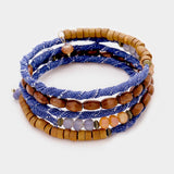 Wooden Beads & Denim Coiled Bracelet
