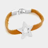 Star & Faux Leather Bracelet