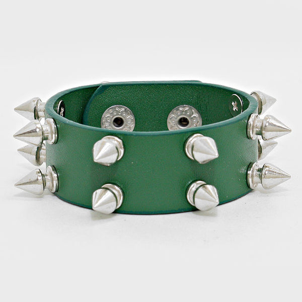 Spike Cone Studded Leather Bracelet