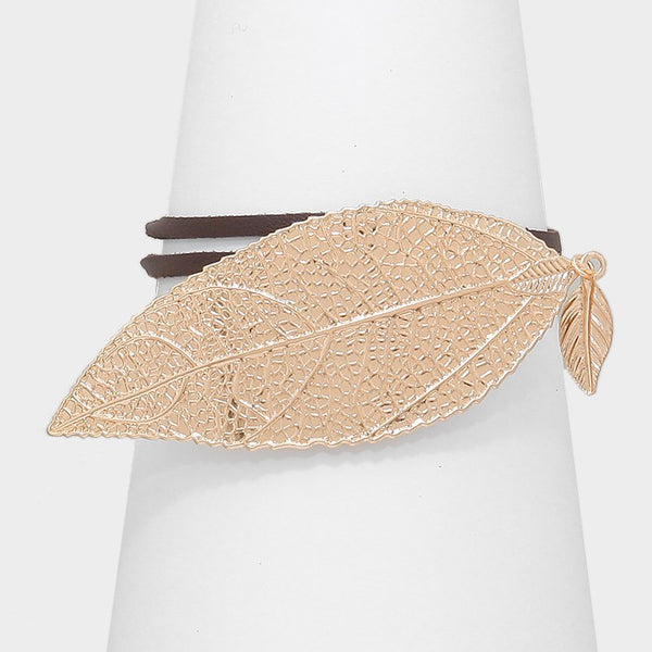 Metal Leaf Accented Faux Leather Wrap Bracelet / Choker