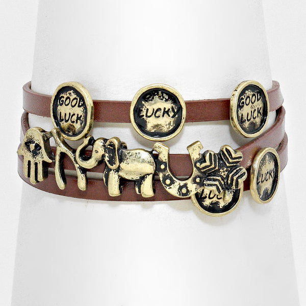Message Disc Cluster Evil Eye Hamsa Hand & Elephant Leather Wrap Bracelet
