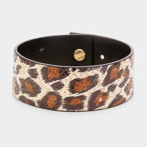 Leopard Leather Snap Button Closure Bracelets