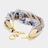 Layered Multi Beaded Metal Leaf Toggle Bracelet