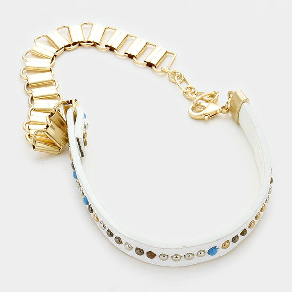 Studded Faux Suede & Metal Chain Wrap Bracelet