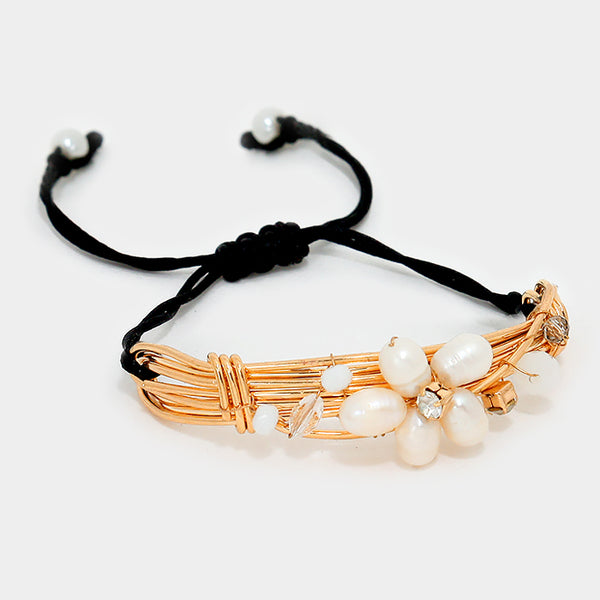 Pearl Flower Deco Cinch Bracelet