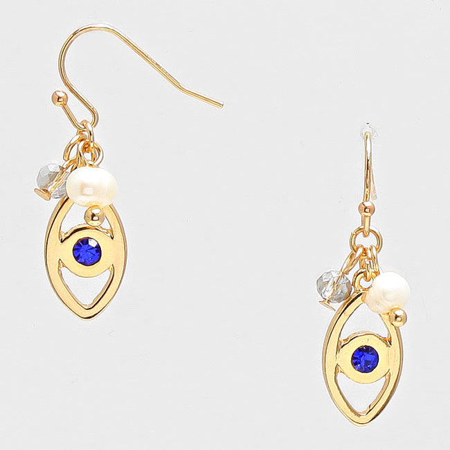 Crystal Accented Evil Eye Drop Earrings