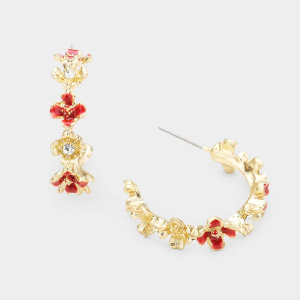 Enamel Flower Accented Metal Half Hoop Earrings