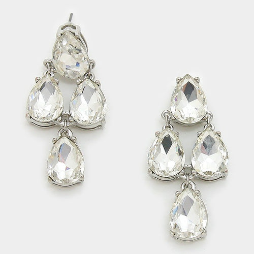 Crystal Teardrop Cluster Earrings