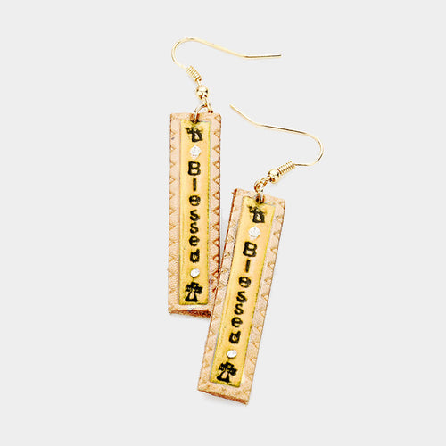 """Blessed"" Genuine Leather Rectangle Dangle Earrings"