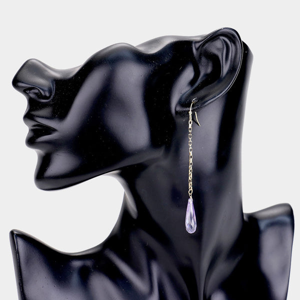 Cubic Zirconia Teardrop Metal Chain Earrings