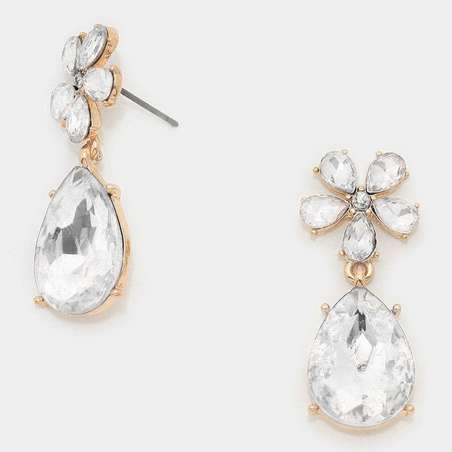 Floral Crystal Rhinestone Teardrop Earrings