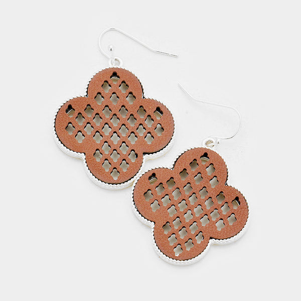 Cut Out Genuine Leather Clover Dangle Earrings