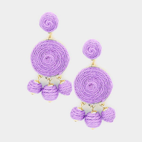 Triple Thread Ball Dangle Earrings