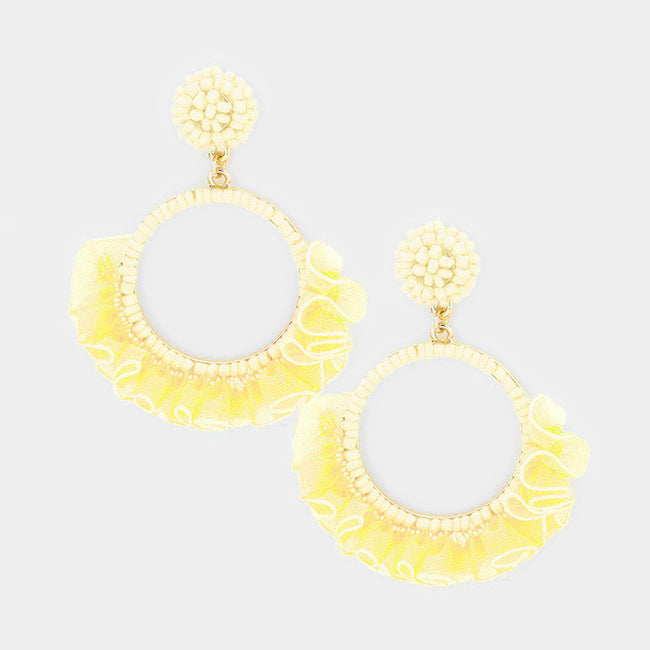 Beaded Hoop Lace Fringe Dangle Earrings