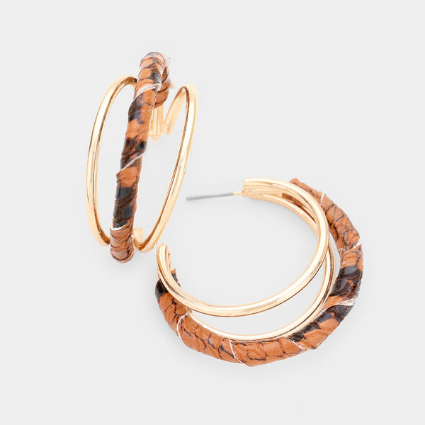 Snake Print Faux Leather Wrapped Hoop Earrings