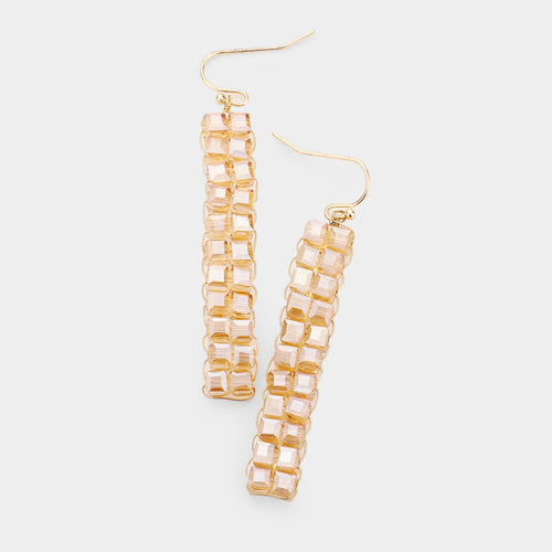 Square Bead Statement Drop Earrings