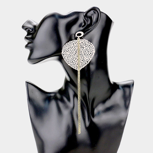 18k Gold Dipped Filigree Leaf Chain Tassel Earrings