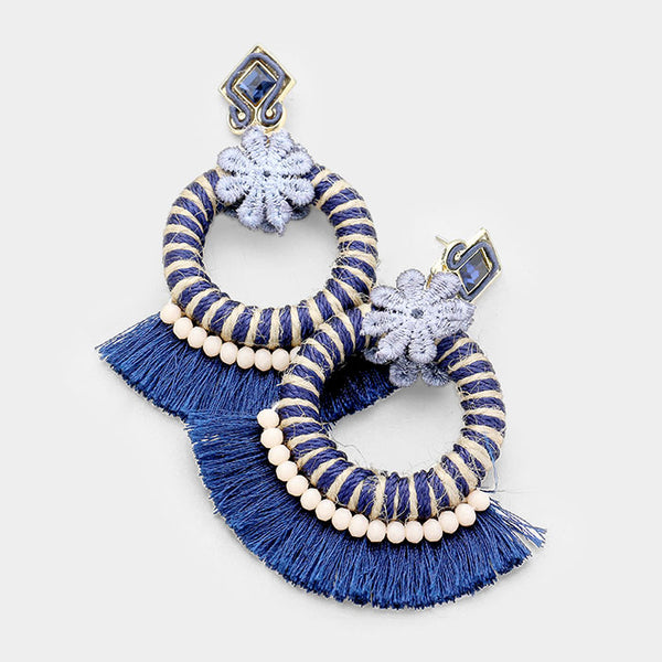 Crystal Flower Cut Out Round Fan Tassel Earrings