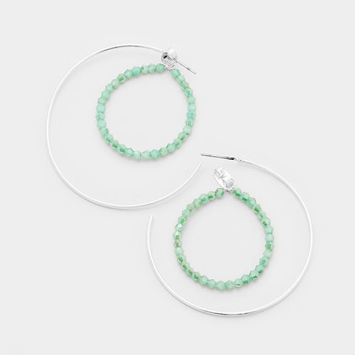Beaded Hoop Half Metal Hoop Earrings