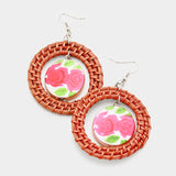 Woven Hoop Flower Circle Dangle Earrings