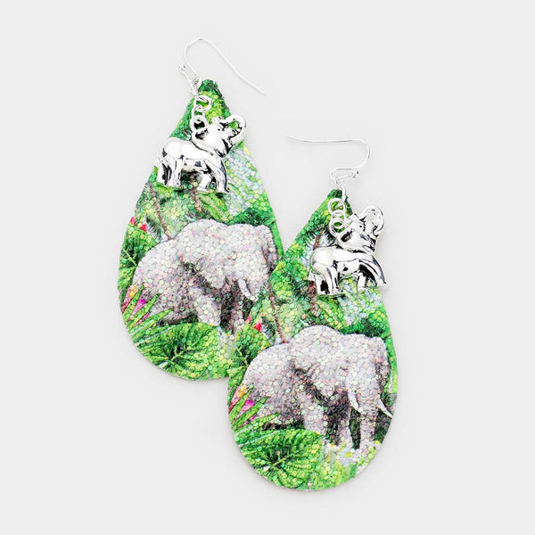Glitter Nature Elephant Dangle Earrings