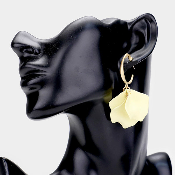 Metal Hoop Rose Leaves Earrings