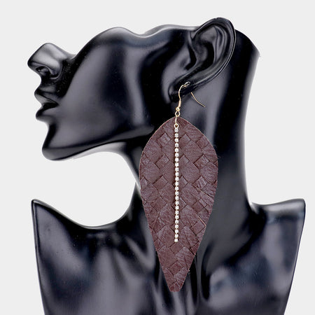 Patterned Genuine Leather Geometric Earrings