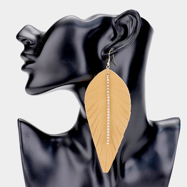 18k Gold Dipped Suede Feather Rhinestone Drop Earrings