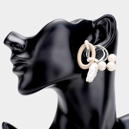 Glass Crystal Resin Trim Hoop Earrings